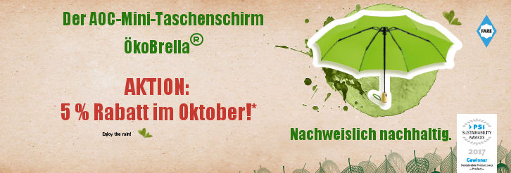 Teaser Werbeartikel AOC-Mini-Taschenschirm ÖkoBrella - www.werbung-schenken.de