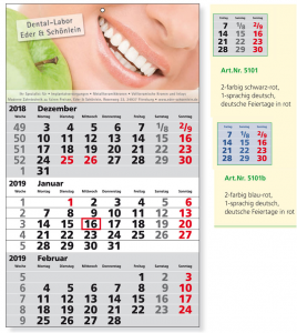 Werbeartikel 3-Monatskalender STANDARD - www.werbung-schenken.de